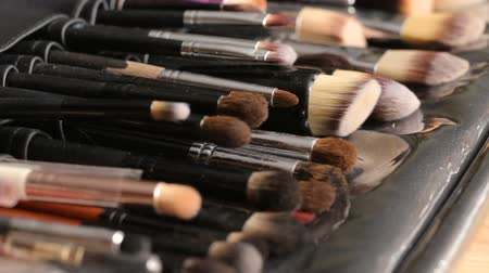 whitebackground : Side view image of professional brushes set for make up. Beauty concept. Stock Footage