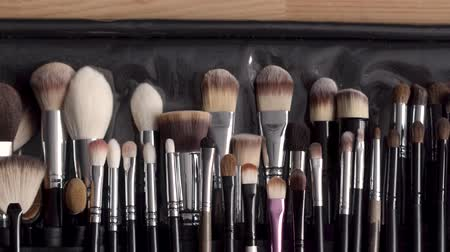 beauty products : Top view image of professional makeup brushes. Beauty concept.