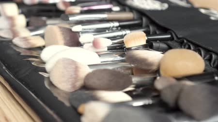 aplikatör : Various makeup brushes on wooden table. Tools for makeup atrist.