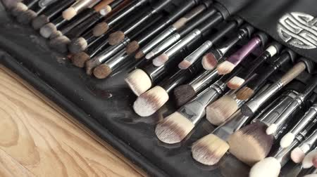 aplikatör : Top view close up image of beauty makeup brushes set. Fashion concept.