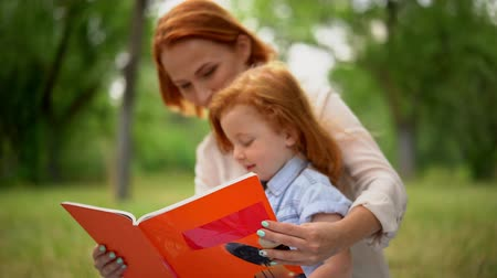 education kids : Beautiful Young Mother Reading Book To Her Little Cute Daughter In Green Park.