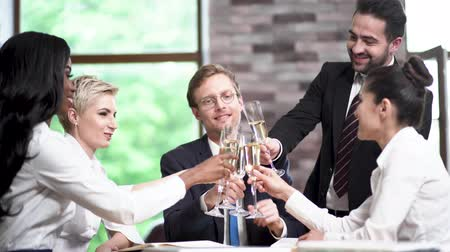champagne flute : Business Team Celebrating Succesful Project With Champagne In Office. Wearing Formal Clothes. Conference Concept. Stock Footage