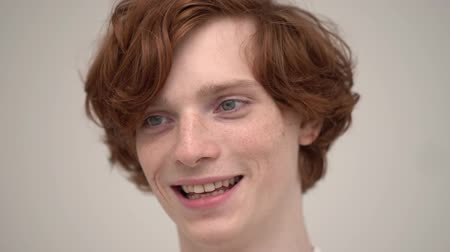 redhair : Charming Ginger Man With A Stanning Smile. Happy Young Guy With Red Hair And Freckles Joyfully Smiles. Close-Up