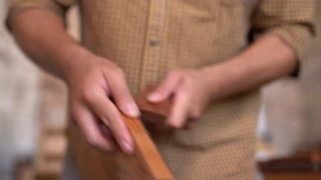 sander : Professional Carpenters Hands Polishing Wooden Plank. Skilled Craftsman Working With Wood. Closeup.