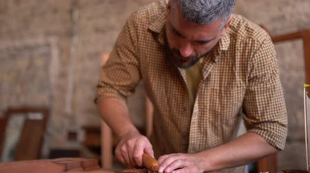 sander : Concentrated Joiner Hits The Wooden Plank. Skilled Craftsman Works In His Workshop On New Wooden Toy. Stock Footage