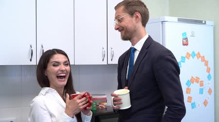 işbirliği yapmak : Excited Co-workers are Having a Conversation on Office Kitchen. Beautiful Female Worker and Man in Business Suit are Joking and Drinking Tea While Resting. Stok Video