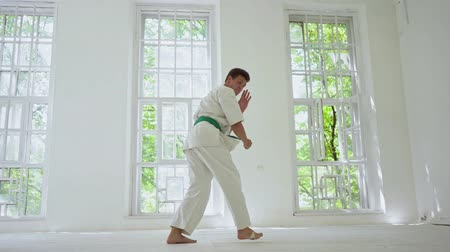 quimono : Young Strong Master Improving Karate Skills In White Gym. Sloping And Holding Hand And Leg. Martial Art Concept. Vídeos