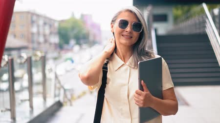 trousers : The Woman In A Trendy Shirt Is Going Out, The Lady Is Tidying Her Hair And Touching Her Sunglasses .She Is Holding A Tablet In Her Hand..The Businesswoman Is Also Carrying A Briefcase