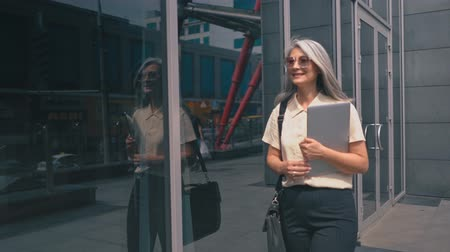 provést : Middle-aged Business Woman Is Walking In The City Center She Is Wearing Stylish Sunglasses. The Lady Is Holding A Tablet In Her Hand. She Is Passing By The City Buildings.The Businesswoman Is Also Carrying A Briefcase Dostupné videozáznamy