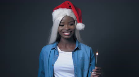 African Young Woman With White Hair Like Santa Claus. Happy New Year. Hair Beauty Concept. Vídeos