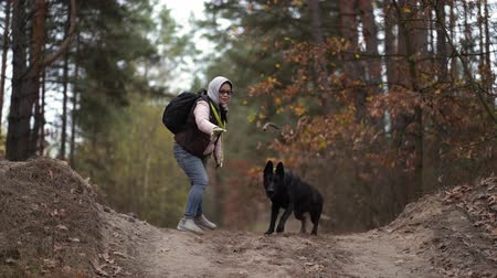 atmak : Casually Dressed Woman Play With Her Active Black Shepherd In The Autumn Forest. The Female Is Throwing Away A Stick And The Pet Brings It Back To The Owner.