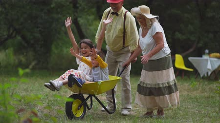 carriola : The Old Lady And Gentleman Are Pushing Their Grandchildren In A Wheelbarrow.Funny Boy And Girl Raised Their Hands Up. All Family Is Very Happy.
