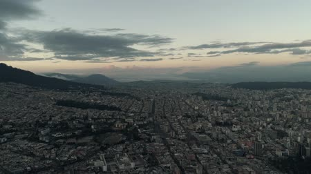 Flying over the city of Quito, Ecuador