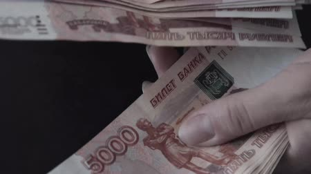 fazla : Rouble. Money. Bill 5000. Counting money.