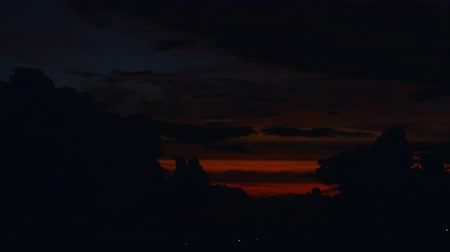 tropy : time lapse sunset, sunrise in jungle, silhouettes of palm, bright cirrus clouds Dostupné videozáznamy