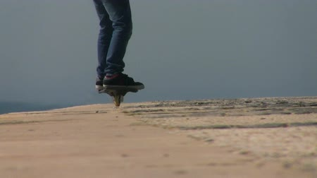 two wheeled : Kid riding caster board on sunny day Stock Footage