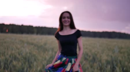 The girl is walking along the wheat field nature slow motion video. Beautiful girl in a multi-colored dress running wildlife happiness hands on the side at sunset and the blue sky.