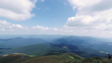 bulutluluk : The view from the mountain Hoverla, timelapse (Ukrainian Carpathian mountains). Moving cloud. People climb to the top of the mountain