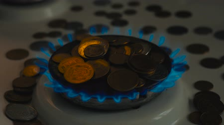 gas burner flame : Coins of different countries on a gas burner. Symbol of increasing fuel prices.
