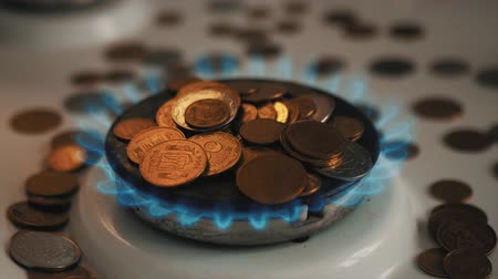 Coins of different countries on a gas burner. Symbol of increasing fuel prices.