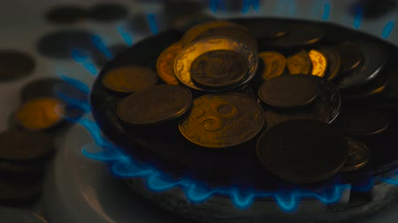 methane : Coins of different countries on a gas burner. Symbol of increasing fuel prices.