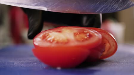 Slicing the Tomato with Kitchen Knife