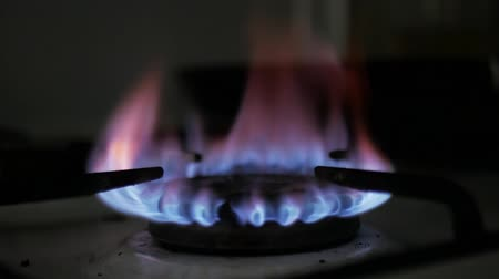 gas burner flame : Gas stove auto ignition. Close-up