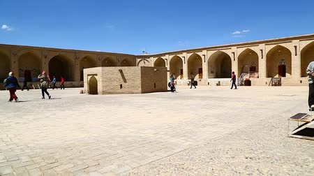 caravanserai : in iran antique palace and old caravanserai contruction for travel people Stock Footage