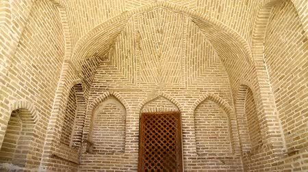 yazd : in iran antique palace and mosque Hazrat with wind Stock Footage