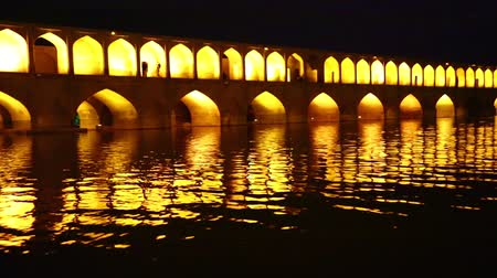 historical building : iran in the old bridge of Isfahan for light and night