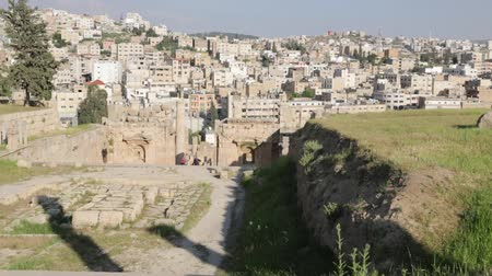 pagan kingdom : People in jordan inside the old castle of kerak and the view