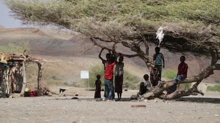 Намибия : ETHIOPIA, DANAKIL-CIRCA JANUARY 2018 - unidentified children play in the nature