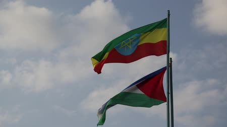 antique grunge : ethiopia africa the colorful flag waving in the sky