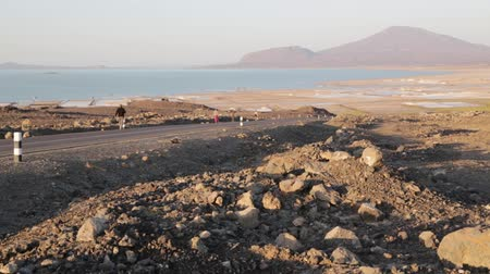 mines : in danakil ethiopia africa in the lake and salt flat industry Stock Footage