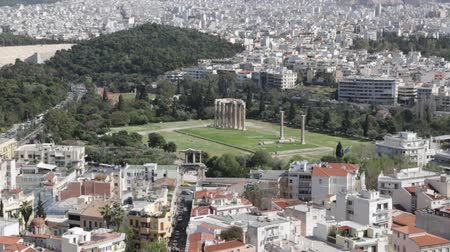 акрополь : in europe athens the view from the city from the acropolis old architecture and new buildings