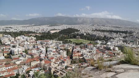 aerial athens : in europe athens the view from the city from the acropolis old architecture and new buildings