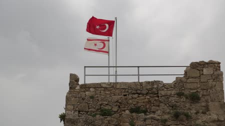 протест : in the north of cyprus the waving flag in the sky