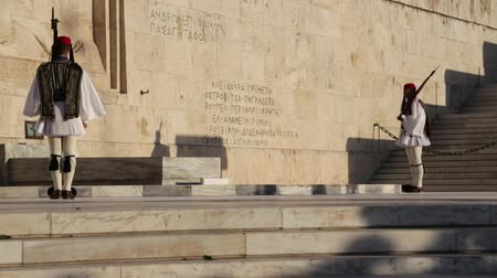 armado : GREECE, ATHENS-CIRCA APRIL 2018 - unidentified people and cerimonial parliament guard
