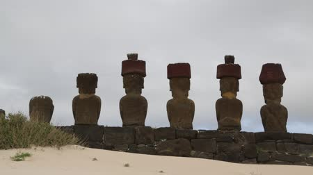 lom : in chile rapa nui the antique and mysteriuos muai statues symbol of an ancien culture