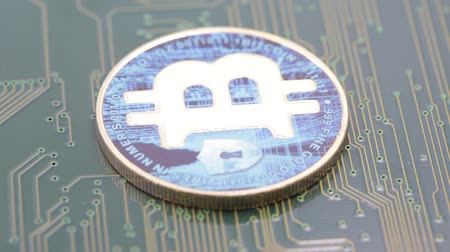integrovaný : in the motherboard of a computer the coin of bitcoin like concept of future and investment