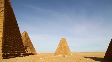 camelo : in africa sudan napata karima the antique pyramids of the black pharaohs in the middle of the desert