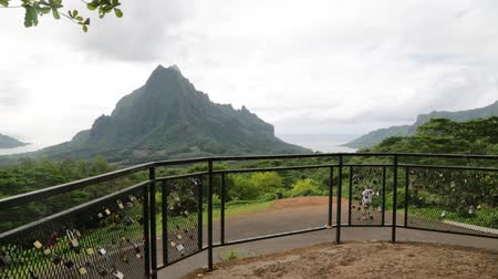 hűség : in polynesia bora bora the view of the mountain and the padlocks concept of love