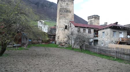 hristiyanlık : in georgia mestia the old village protect by unnesco and the antique tower for the war