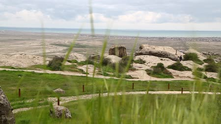 archeological : in azerbaijan gobustan the antique prehistorical cave Stock Footage