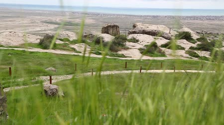 ilkel : in azerbaijan gobustan the antique prehistorical cave protect by unesco Stok Video