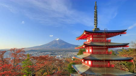 japan : 4K Timelapse of Mt. Fuji with Chureito Pagoda at sunrise in autumn, Fujiyoshida, Japan