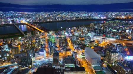 japan : 4K Timelapse of Osaka city at night, Japan Stock Footage