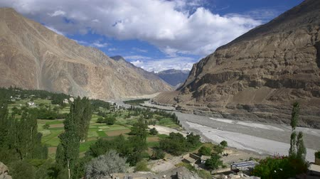 baltistan : Panning shot of turtuk village, Diskit, Jammu and Kashmir, India
