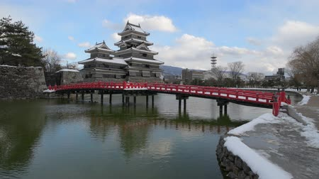 karga : Matsumoto castle in Winter, Nagano, Japan Stok Video