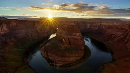 área de deserto : 4K Time lapse of Horseshoe Bend at sunset, Arizona, USA